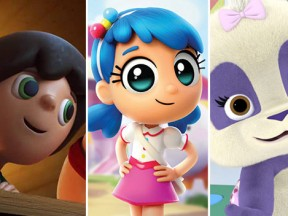 "Newly announced Netflix series (l. to r.): ""Kazoops!,"" ""True & the Rainbow Kingdom,"" and ""Word Party."""