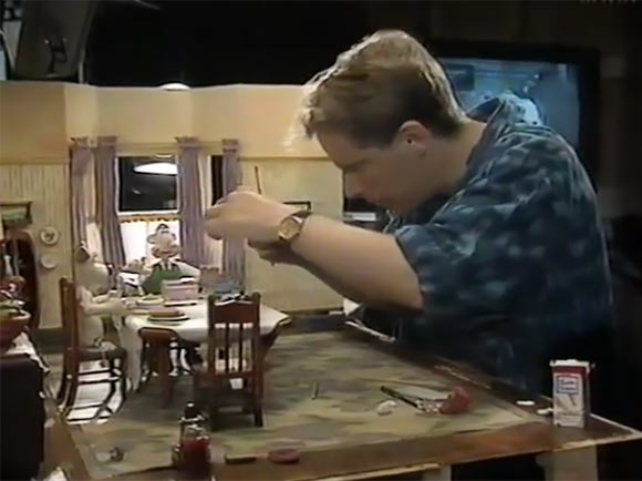 Nick Park animating a scene of Wallace and Gromit.