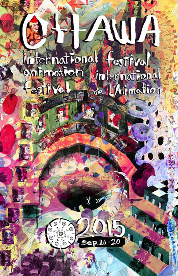 Thee 2015 festival poster created by the Hut animation collective, comprised of Caleb Wood, Derick Wycherly, Ted Wiggin, Africanus Okokon, and Dylan Hayes.