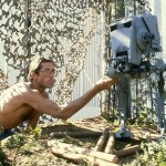 """ILM artist Paul Huston animating an AT-ST model from """"Return of the Jedi."""""""