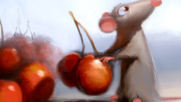 "Remy in the kitchen from ""Ratatouille."" Digital painting by Robert Kondo."