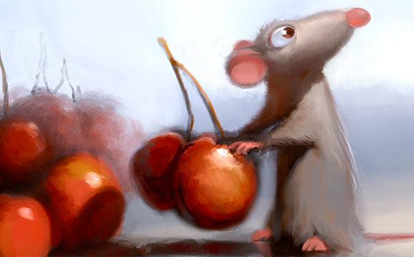 """Remy in the kitchen from """"Ratatouille."""" Digital painting by Robert Kondo."""