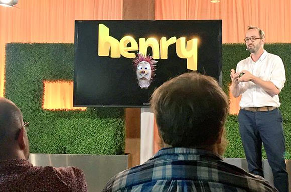 "Saschka Unseld speaking about ""Henry"" at the Oculus Story Studio press event yesterday. (Photo: Cameron Walker)"