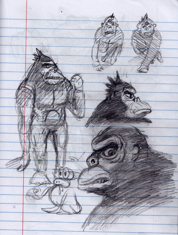 Sketchbook drawings of Apollo Ape. (Click to enlarge.)