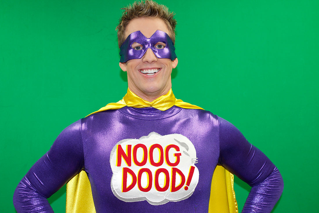 Noog Dood! is the superhero correspondent for Noog News. (Click to enlarge.)