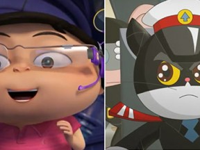 """Two new animated films opened in China last week: """"Kwai Boo: Crazy Space Adventure"""" (left) and """"Mr. Black: Green Star."""""""