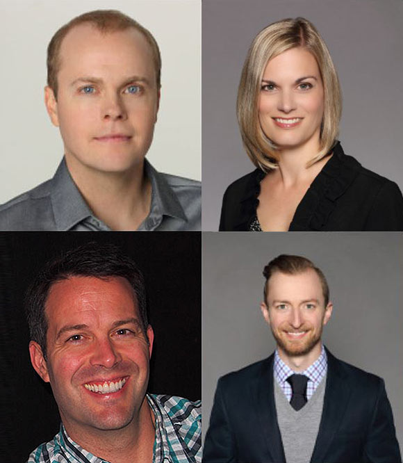 Clockwise from upper left: Shane Prigmore, Bonnie Lemon,  Jonathan Schneider, Aaron Simpson.