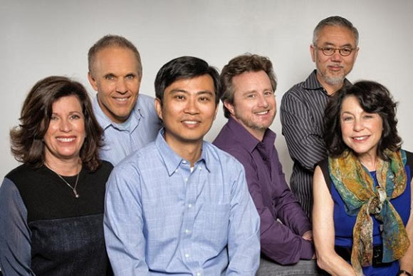 Key Original Force Animation staff (l. to r.): Sandra Rabins, Bob Bendetson, Harley Zhao, Chris Jenkins, John Eng and Penney Finkelman Cox