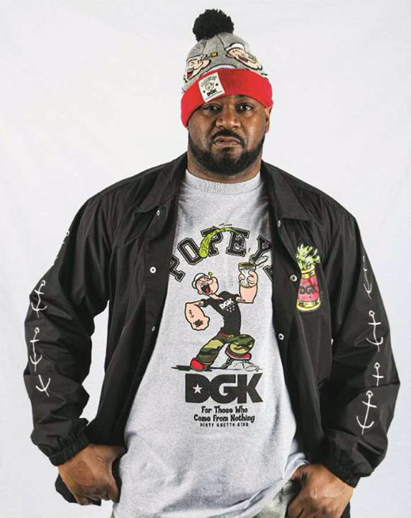 Ghostface Killah sporting the new DGK x Popeye line.