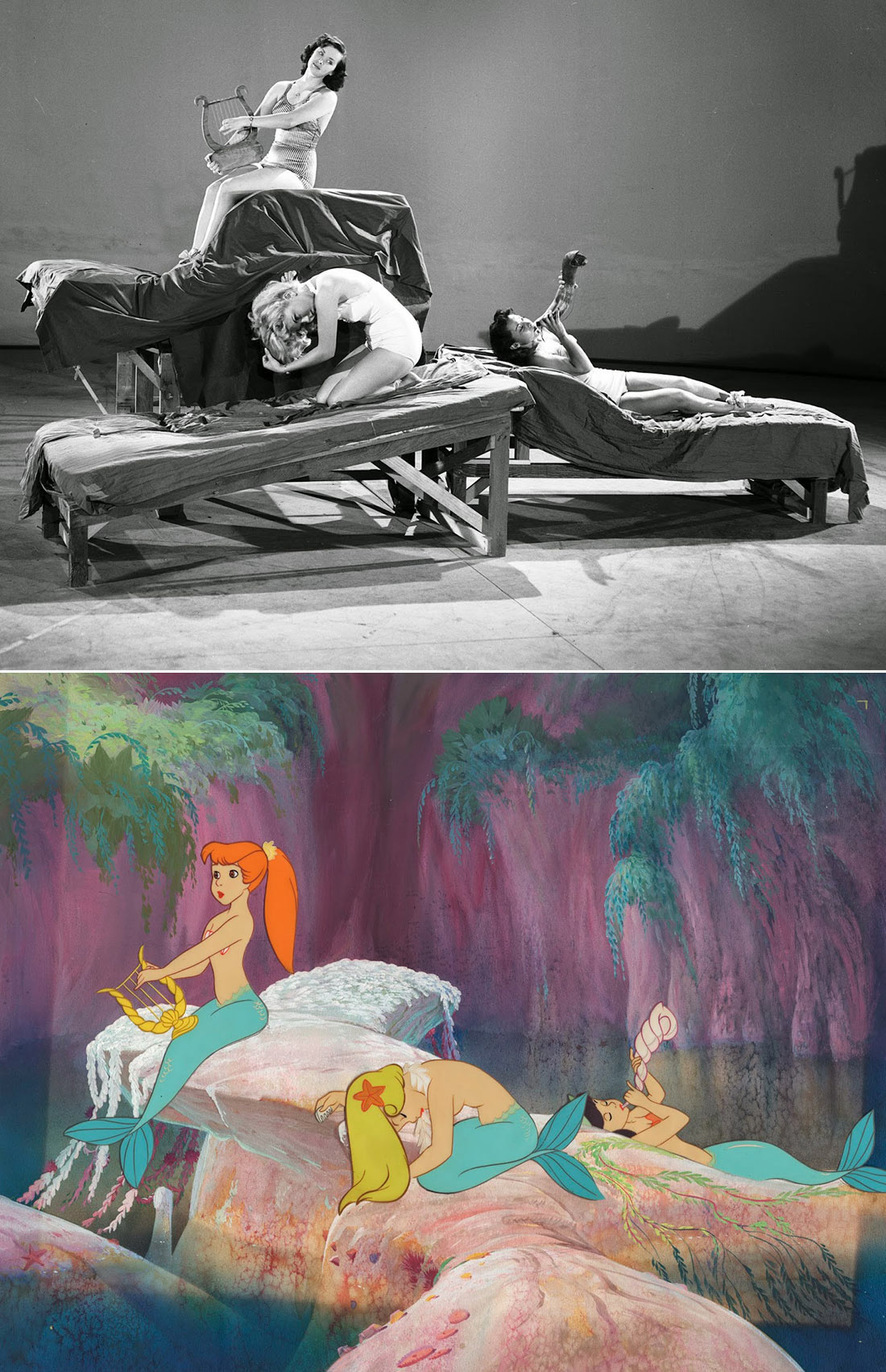 "In addition to her voice acting, Foray was one of the mermaid models in Disney's ""Peter Pan."" In this photo, Foray is on the right. Photos via Andreas Deja)"