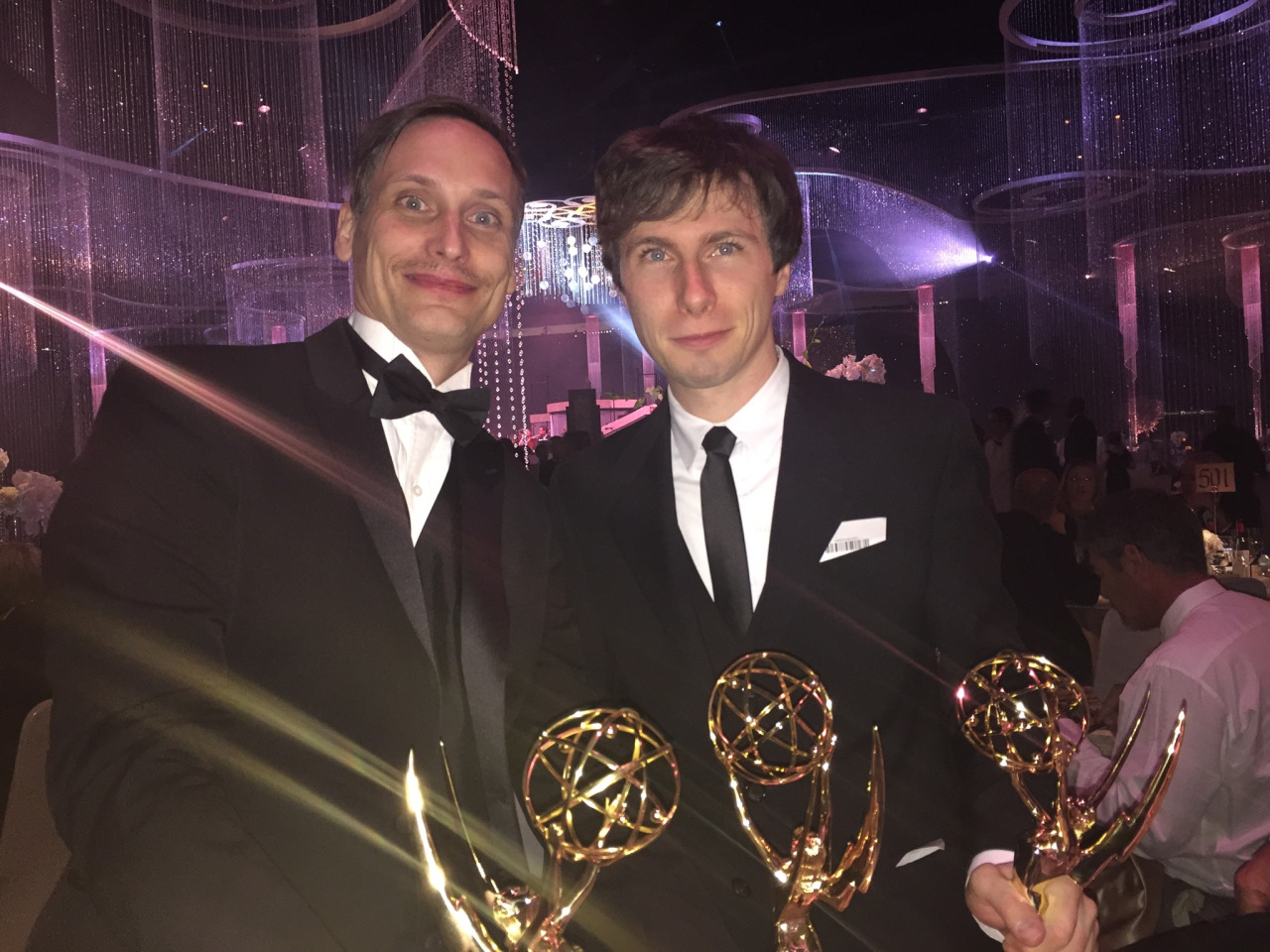"""Nick Cross (left) and Patrick McHale with their Emmys for """"Over the Garden Wall."""""""