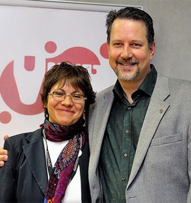 Maria Elena Gutierrez with John Knoll, chief creative officer of ILM and Photoshop co-creator, at the 2013 edition of VIEW.