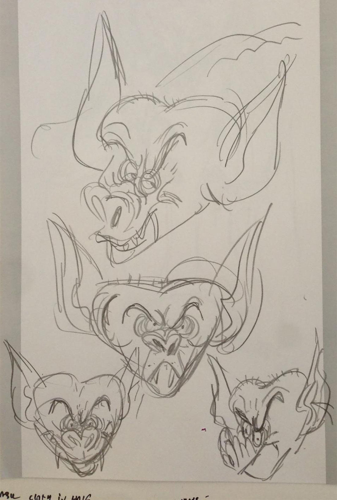 Rough sketches by Genndy Tartakovsky showing ideas for Bela.