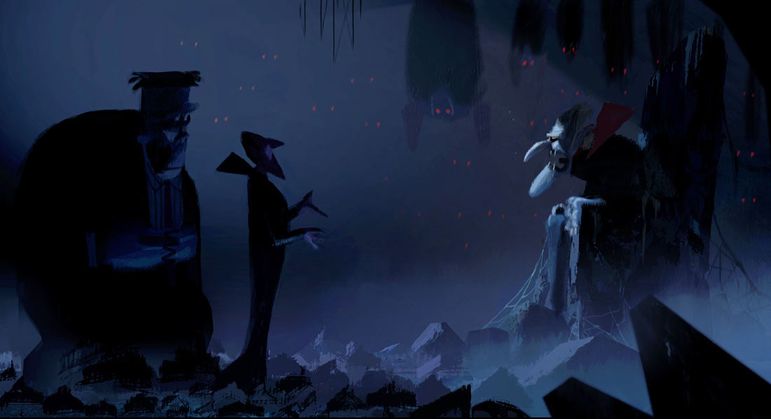 "Color script painting by Aurelien Predal of Frank and Drac meeting Vlad from the unused ""Meet Vlad"" sequence."