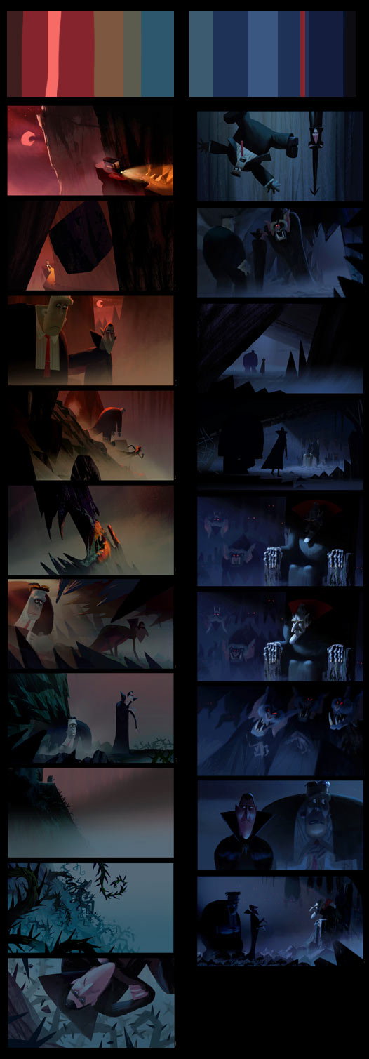 "Color script for the unused ""Meet Vlad"" sequence."