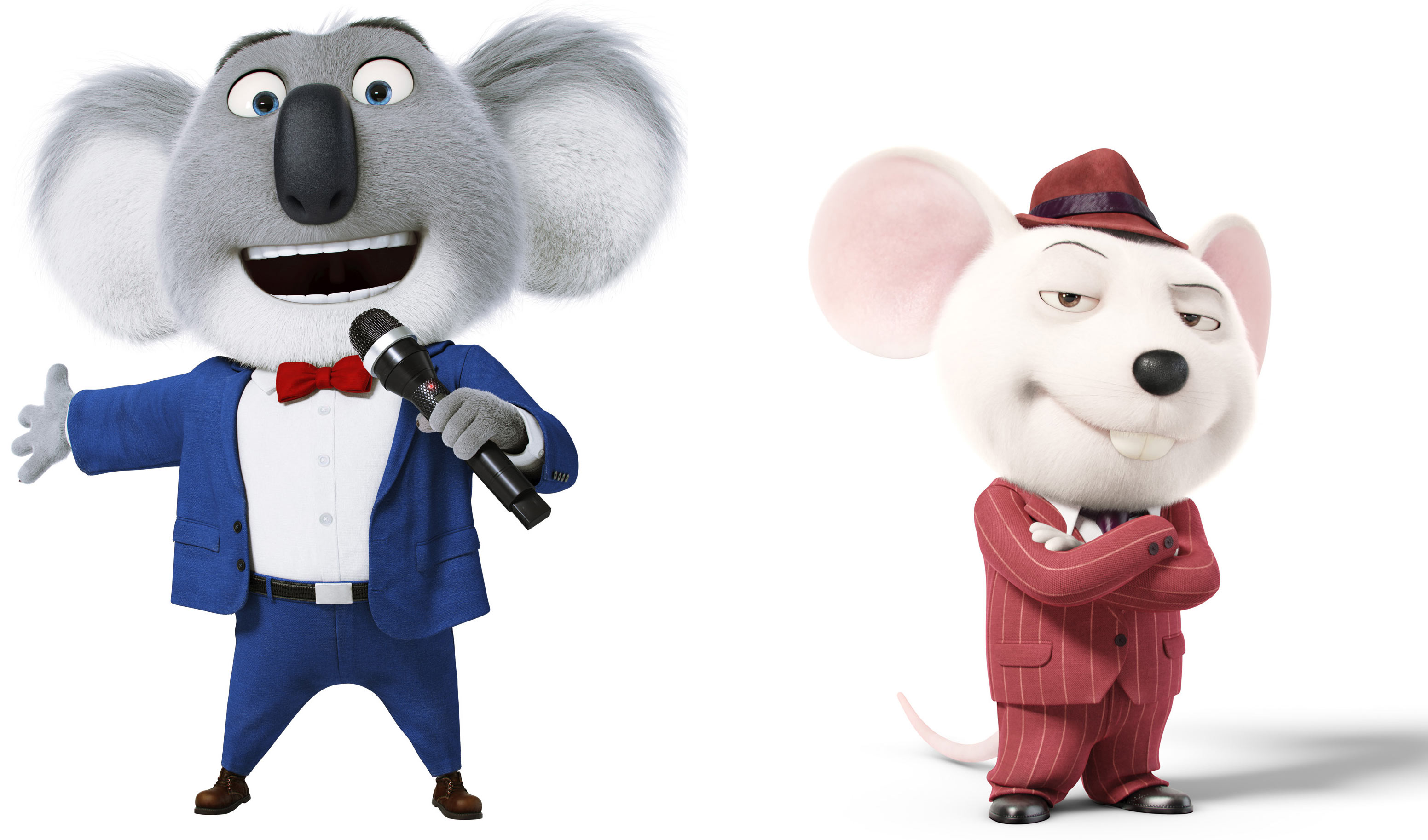Buster Moon (Matthew McConaughey) and the mouse Mike (Seth MacFarlane). Photo: Illumination Entertainment/Universal Pictures)