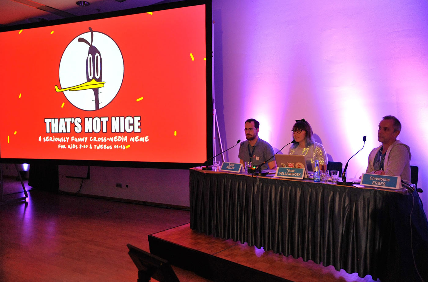 "Pitching my cross-media micro-short project ""That's Not Nice"" created with Bálint Gelley."
