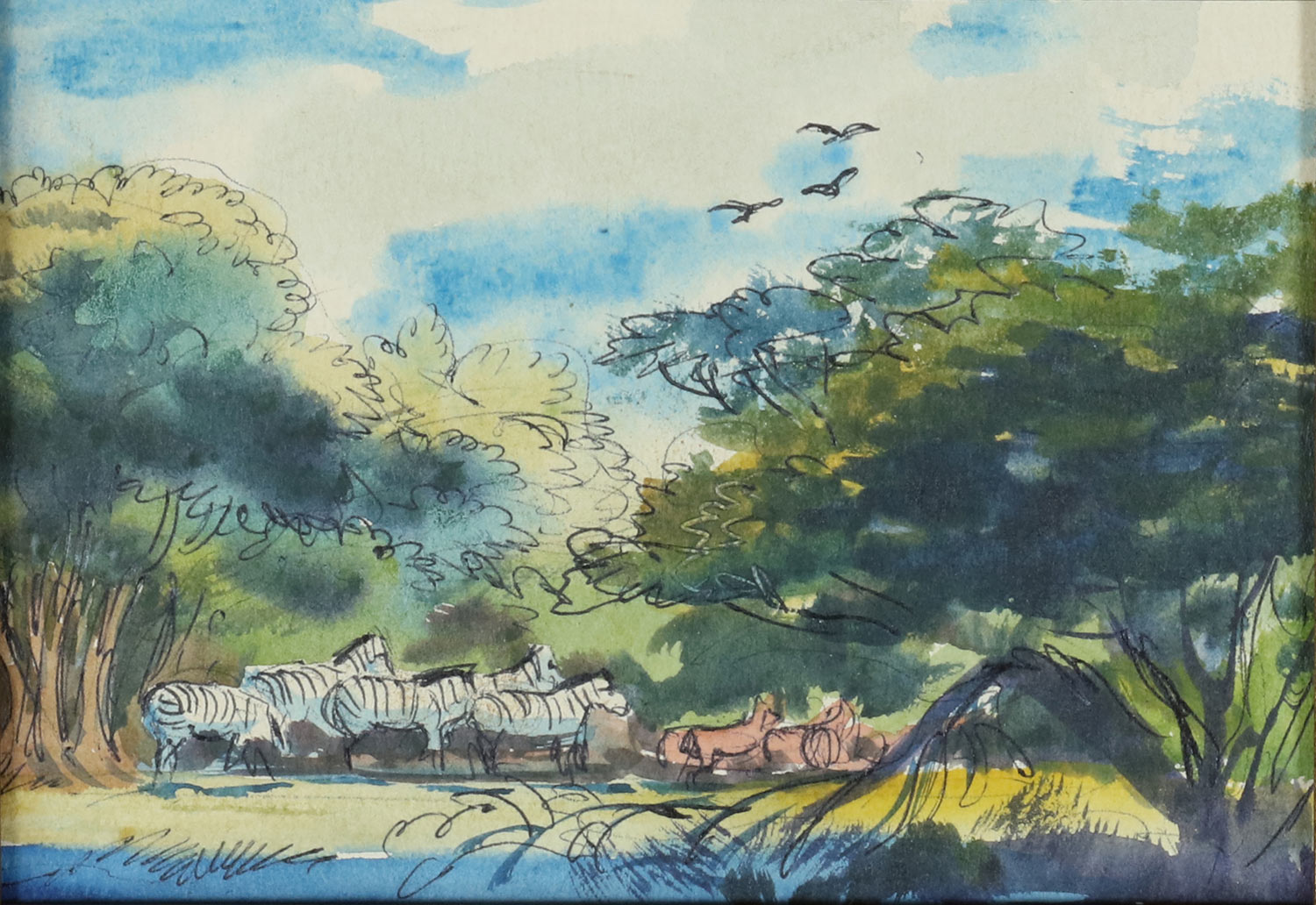 Mel Shaw, Africa travel sketch. (Image: Rick and Janet Shaw and Melissa Couch, © Mel Shaw Studios.)
