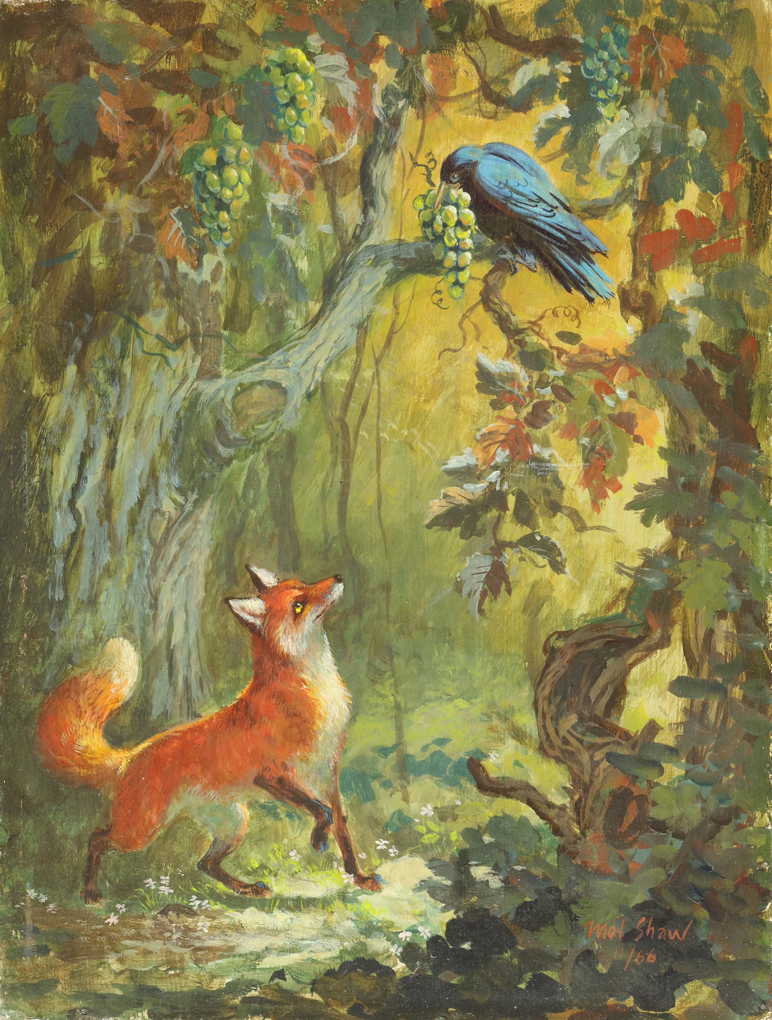 "Mel Shaw painting, ""The Fox and the Grapes, Aesop Fable,"" 1966. (Image: Courtesy Rick and Janet Shaw and Melissa Couch, © Mel Shaw Studios.)"
