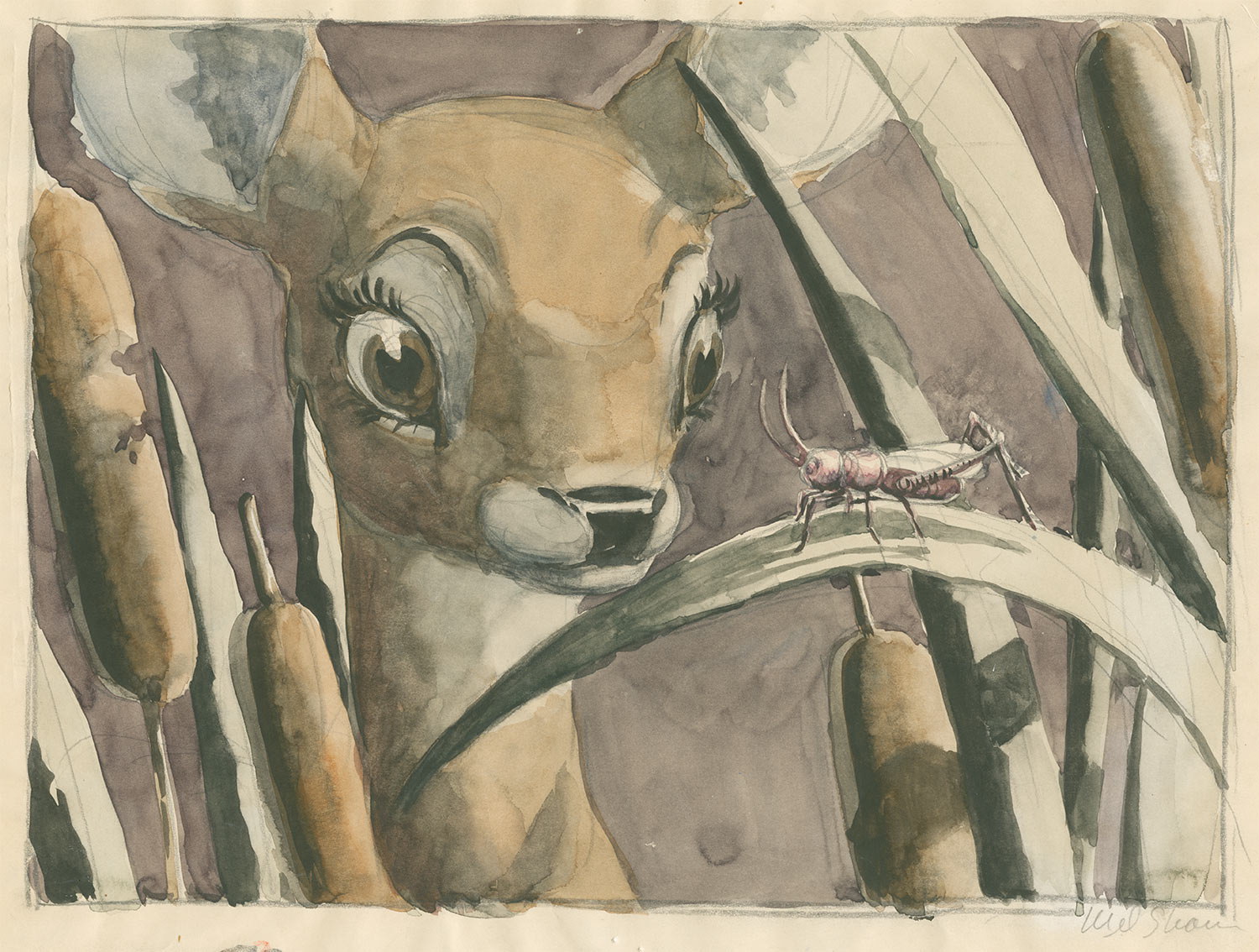 "Mel Shaw, visual development for ""Bambi,"" c. 1942. (Image: Rick and Janet Shaw and Melissa Couch, © Disney.)"