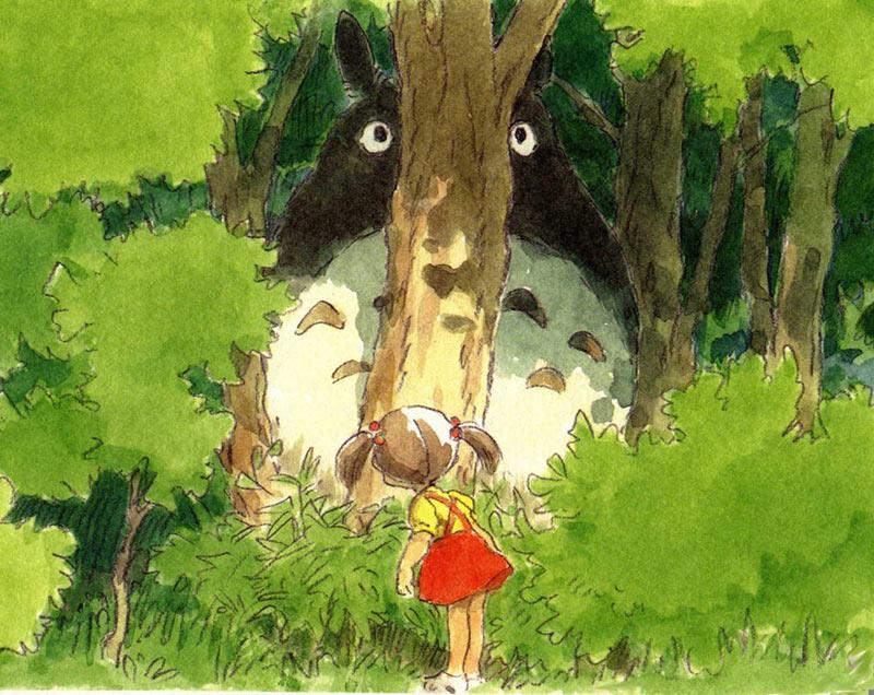 "Watercolor sketch by Miyazaki for ""My Neighbor Totoro."""