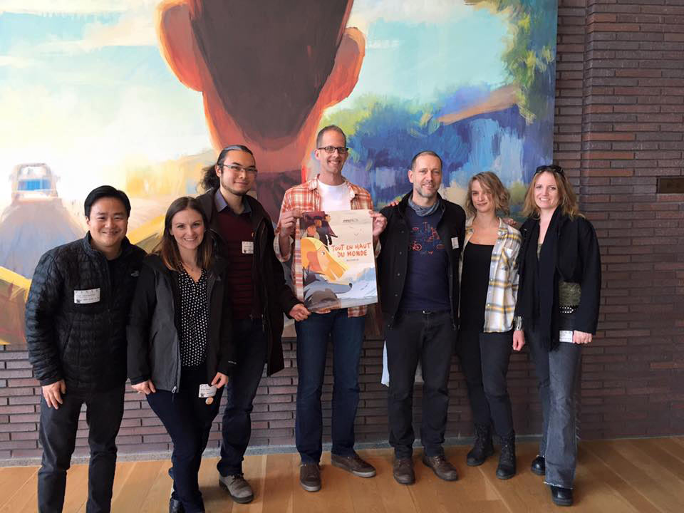 """Long Way North"" crew meets Pete Docter after a screening of the film at Pixar on December 1, 2015. Chayé is standing to the right of Docter; animation director Liane-Cho Han is left of Docter."