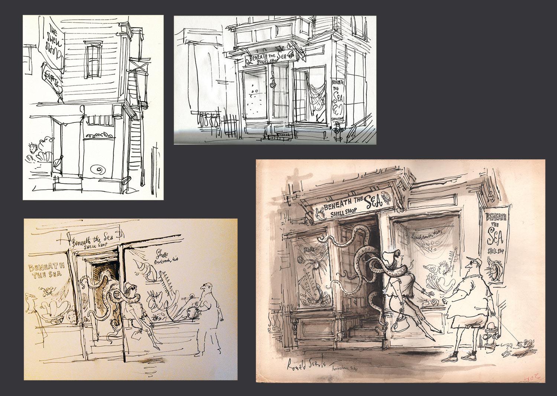 Provincetown illustrations by Ronald Searle. (Image: Fantagraphics/Deutsches Museum für Karikatur und Zeichenkunst Wilhelm Busch/Stuart Ng)