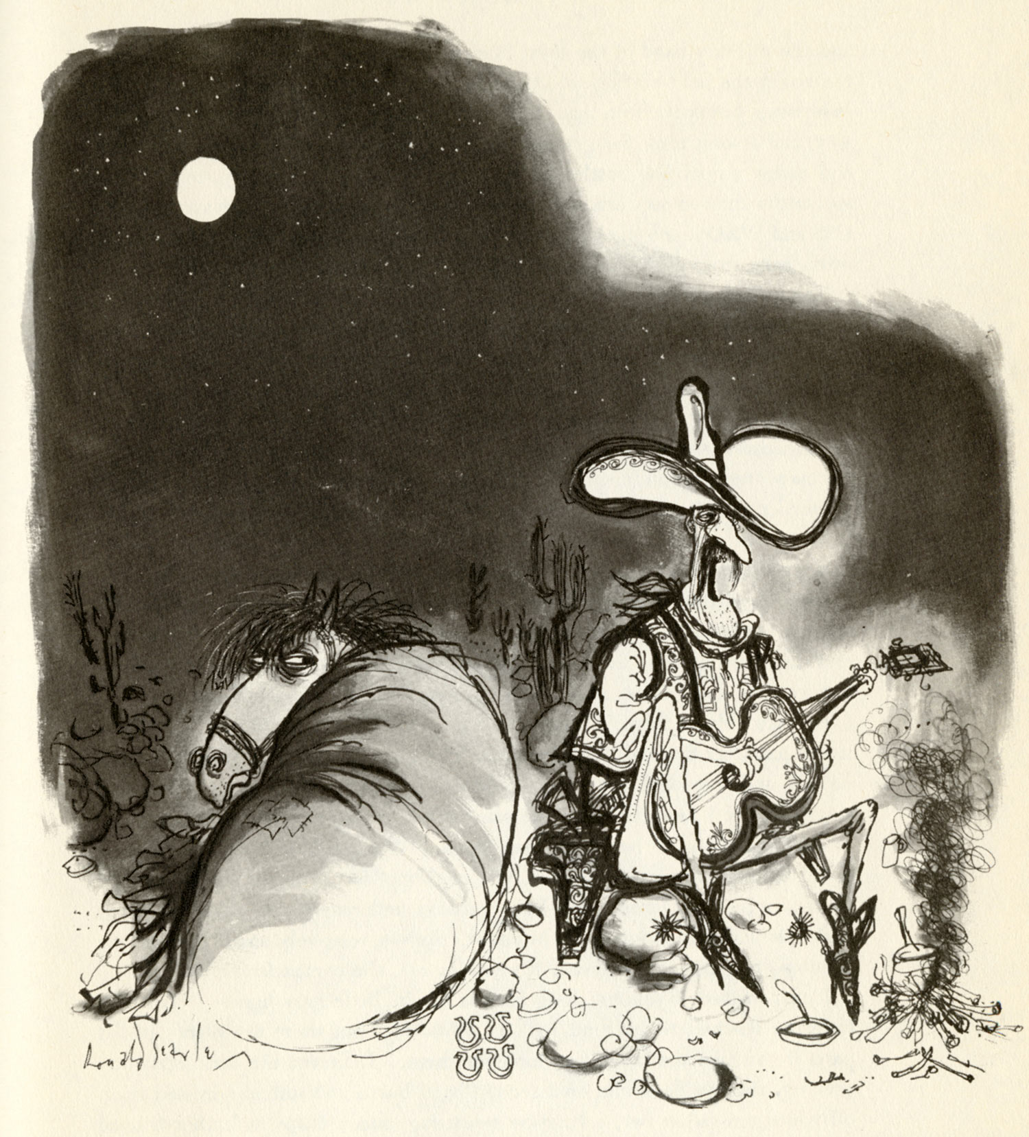 Ronald Searle illustration.