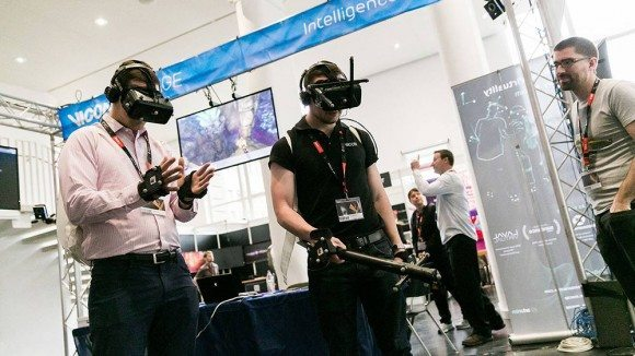 FMX attendees inside a VR volume interact with each other in a virtual world. VR is a major part of the FMX program here in 2016.