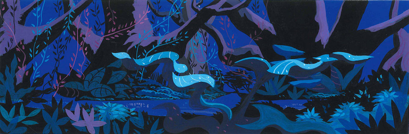 """Background color key for the TV special """"Mowgli's Brothers"""" (1976) by Bob Inman."""