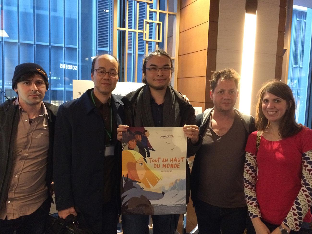 "Left to right: Alexander Petreski (layout posing artist), Toshiyuki Inoue (festival jury member), Liane-Cho Han, Ron Dyens (co-producer, Sacrebleu Productions), Marick Queven (assistant"" animator)."