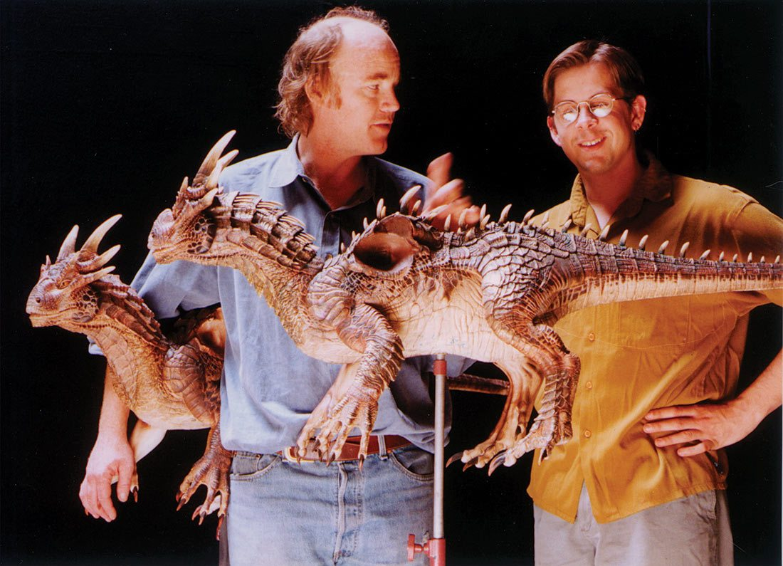 Phil Tippett (left) with sculptor Pete Konig and their Draco maquette.