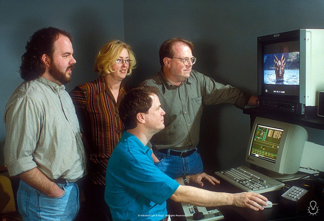 "Some of ILM's visual effects team on ""Dragonheart."" Rob Coleman is standing at left, Scott Squires is seated."