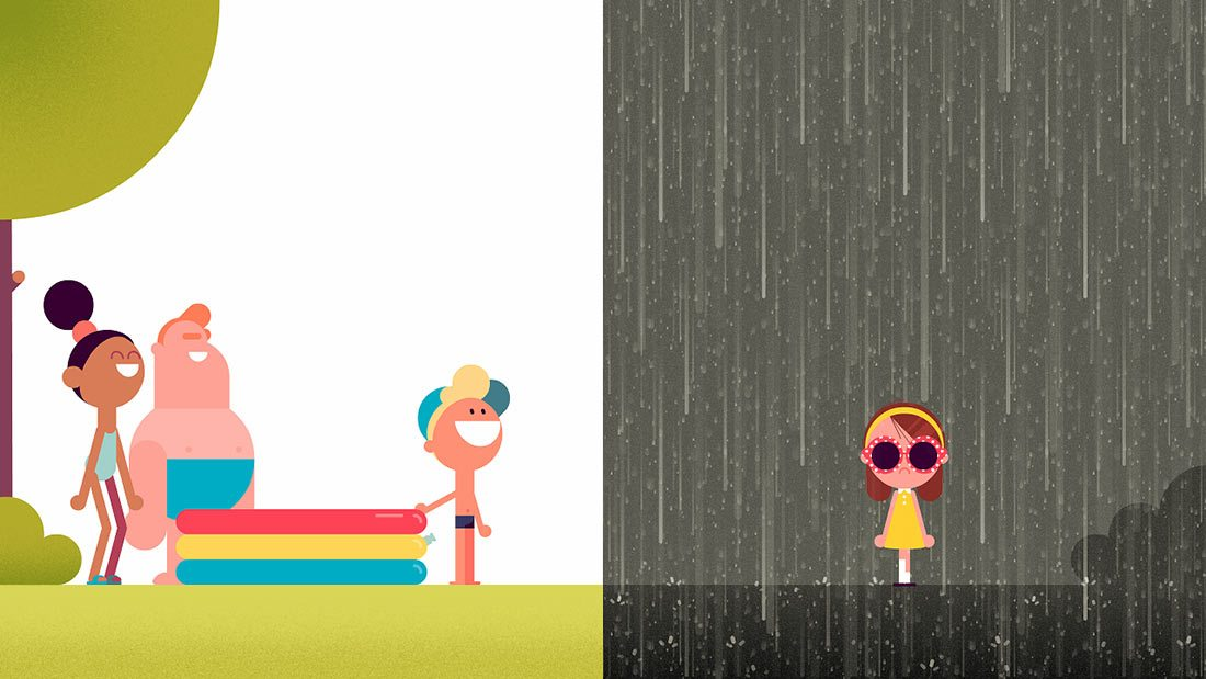 "A still from Nexus' upcoming Google Spotlight Story ""Rain or Shine."""