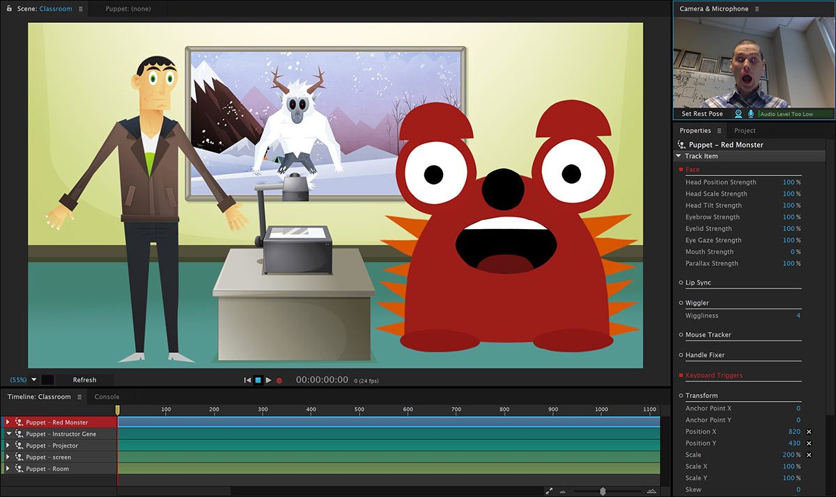 A screenshot of the Adobe Character Animator interface.