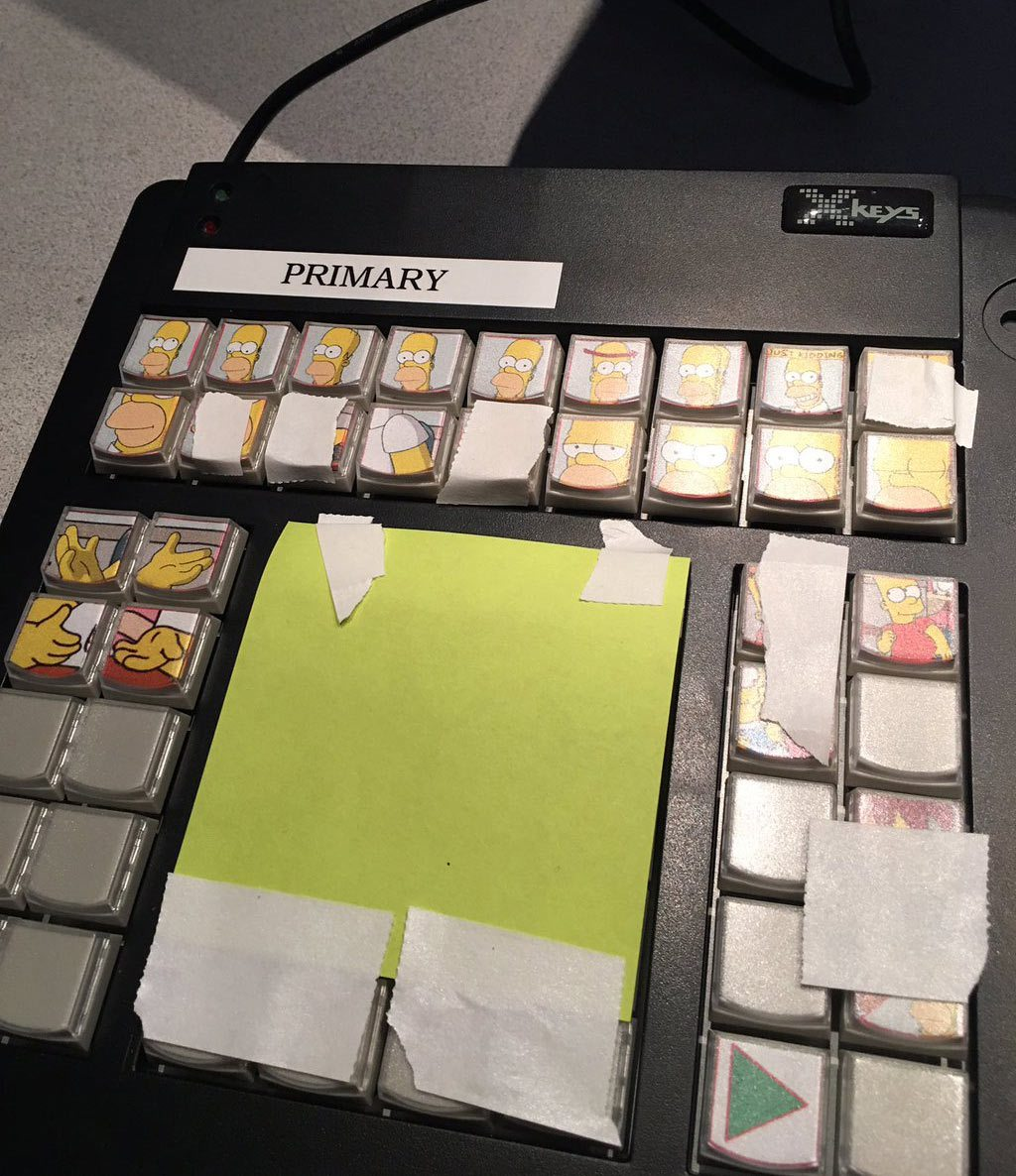 David Silverman posted this image of the keypad he used to control pre-animated elements for The Simpsons live segment.