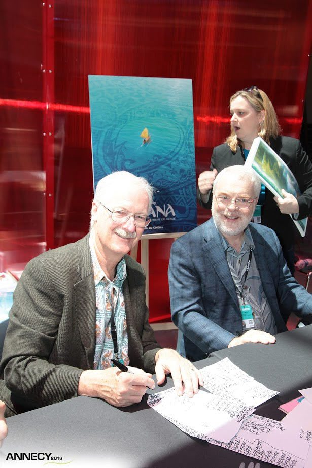 """Moana"" directors John Musker (l.) and Ron Clements at an Annecy poster signing session. (Photo : E. Perdu/CITIA)"