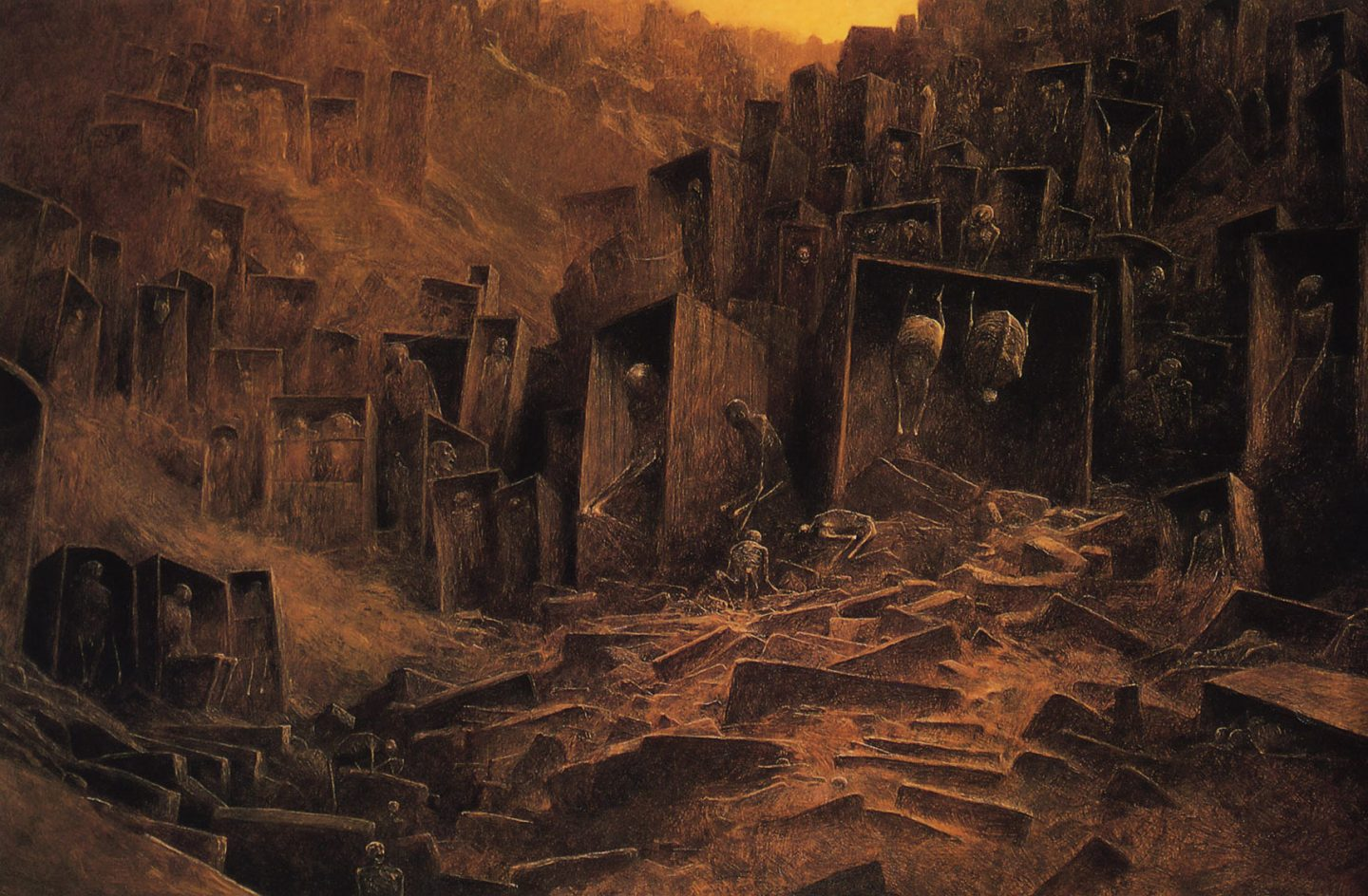 Paintings by Polish artist Zdzisław Beksiński, like the one above, were major influences on the production of the Dawn of War III trailer.