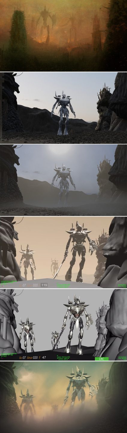 The Wraith Knight, top to bottom: Concept for the Wraith Knight appearance; terrain pass for the Wraith Knight; terrain pass for the Wraith Knight with volume added; animation pass; textures added; final shot of the Wraith Knight.