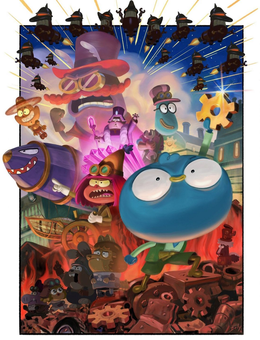 """Harvey Beaks"" steampunk special episode poster by Bill Dely."