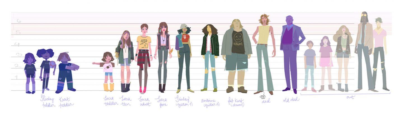 Character design line-up by Tuna Bora, Oren Haskins, Meg Park, Willie Real, and John Nevarez.