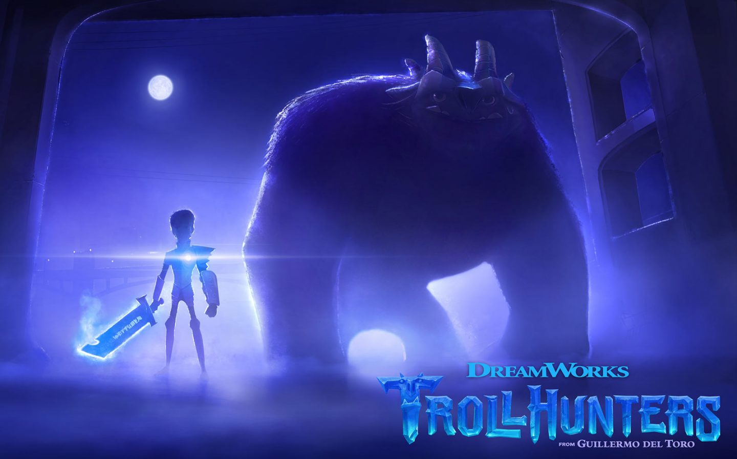 "Guillermo del Toro's CG series ""Trollhunters"" is being produced by Dreamworks Animation for Netflix."