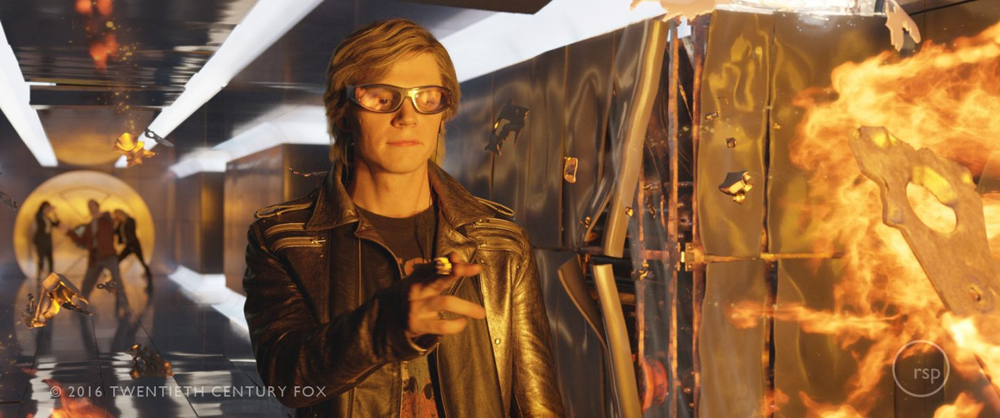 Evan Peters as Quicksilver is stay as playful as ever while demonstrating his superhero powers.