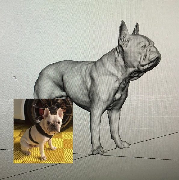 Singer's dog Tauntan was scanned and replicated in CG for one of the shots (from the director's Instagram page).