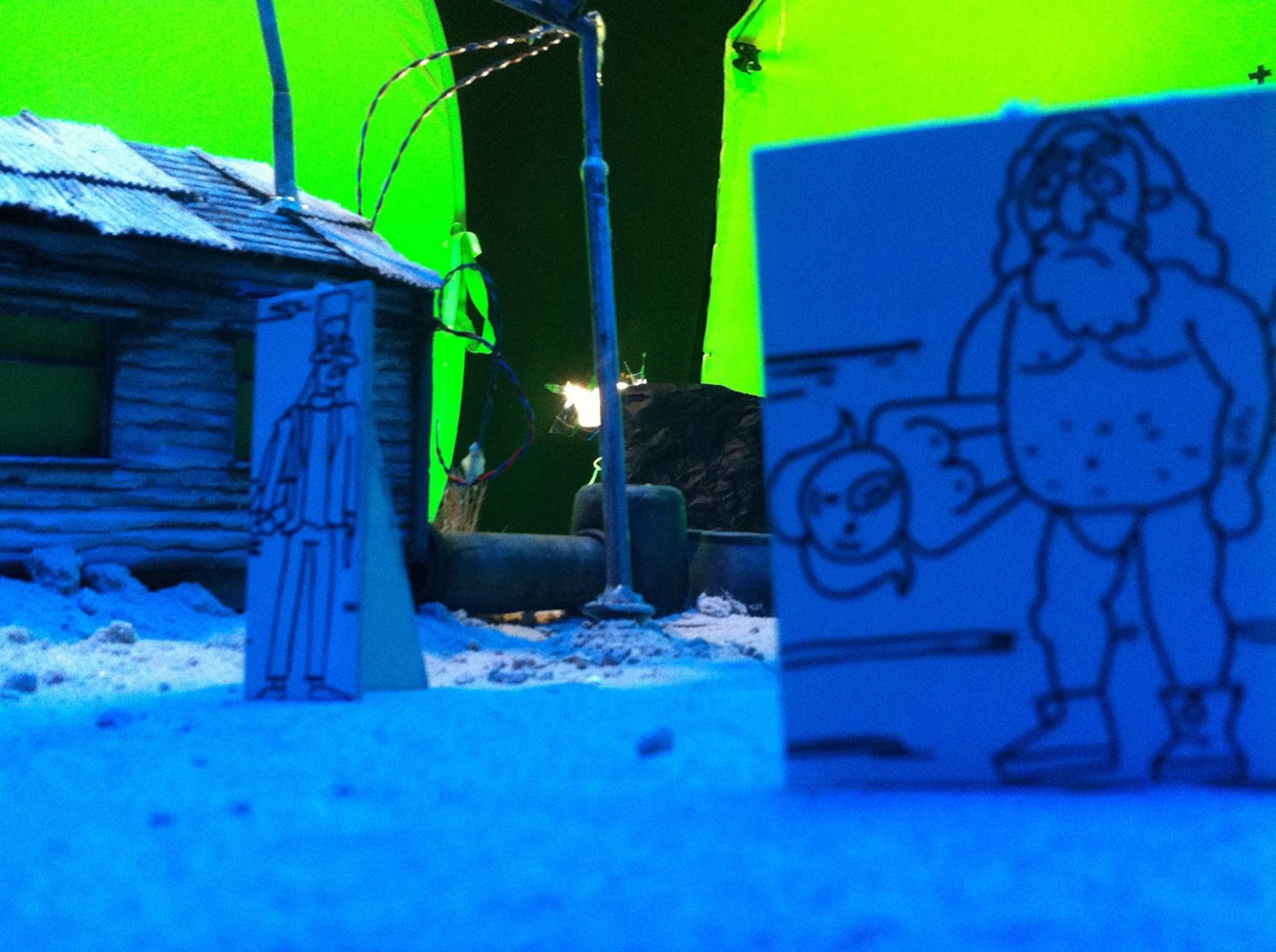 Small scale drawings of the characters were used during shooting of the live-action sets to help with framing.