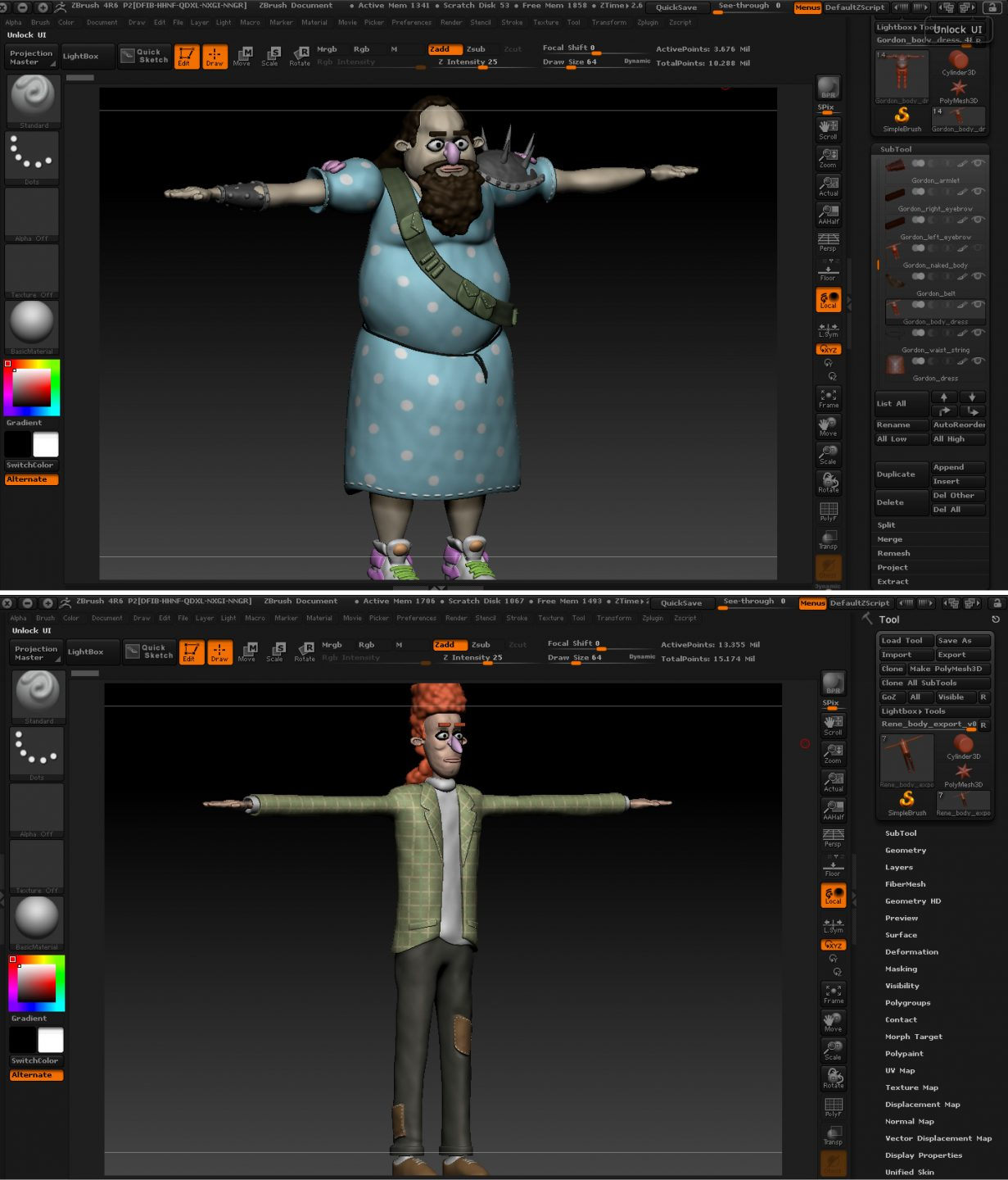 ZBrush sculpts of Gordon and Rene.