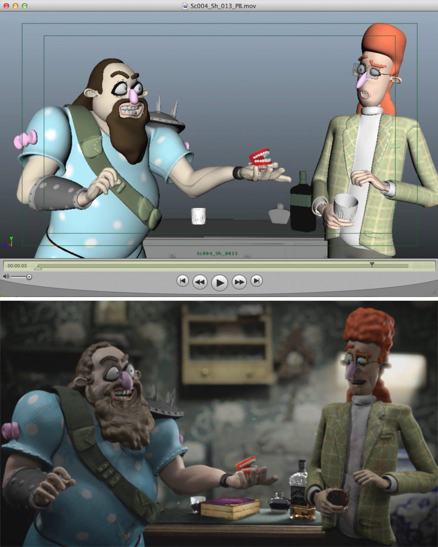 A Maya playblast and final shot featuring Rene and Gordon.