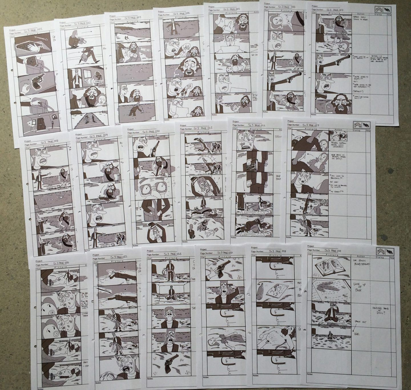 "More refined storyboards for ""After the End"" were drawn digitally in Photoshop."
