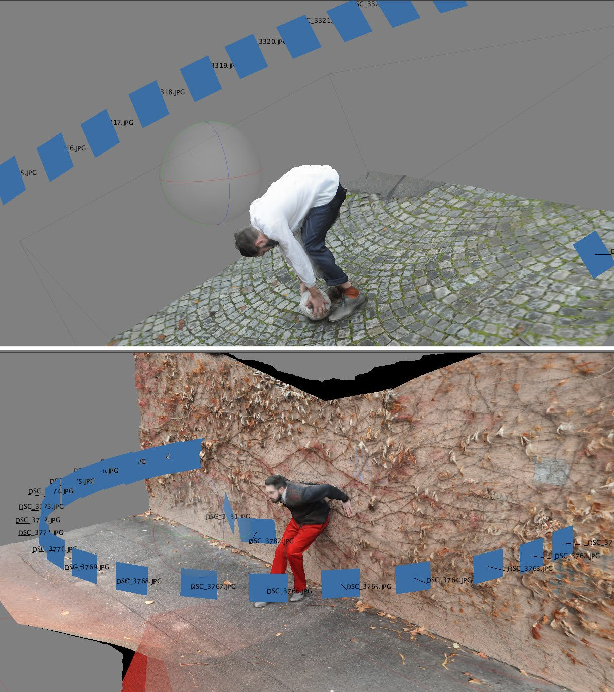 The photogrammetry build from PhotoScan shows the positions where the stills used to produce the 3D model were taken from.
