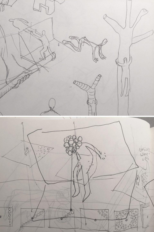 "Fragstein's concept sketches for ""Dagner."""